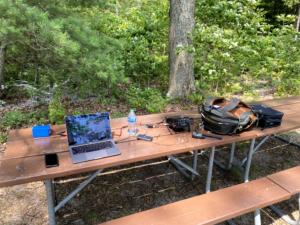 Station Setup on the Picnic Table